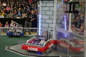 The PVC Pirates' robot (#1058) won first place at the Reading, MA competition before winning again in Providence, RI.